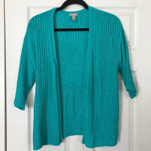 CHICO'S Size 0 Open Cardigan Turquoise Ribbed